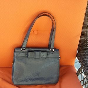 Kate spade navy ostrich embossed leather bow bag